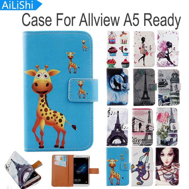 AiLiShi Flip PU Leather Case For Allview A5 Ready Case Hot Sale Cartoon Painted Protective Cover Skin With Card Slot