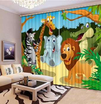 Luxury Blackout 3D Window Curtains For Living Room Bedroom animal park curtains Decoration curtains