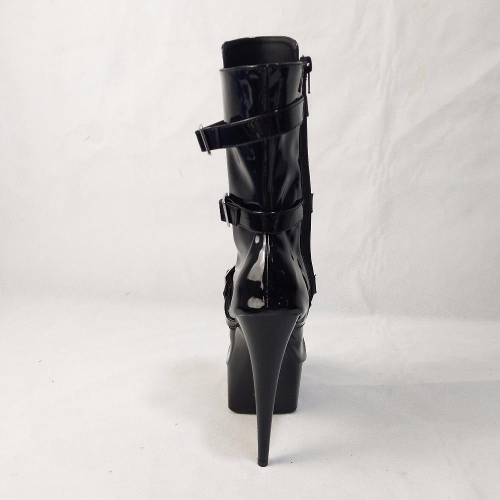 Cuir Dames Cm 15 strap Noir Pdu 2018 Plate Boucle Noir Sexy En forme Mode Pu De Cheville matte Black Haut Femmes Bottes Pompes Talon Chaussures x1xUR0q