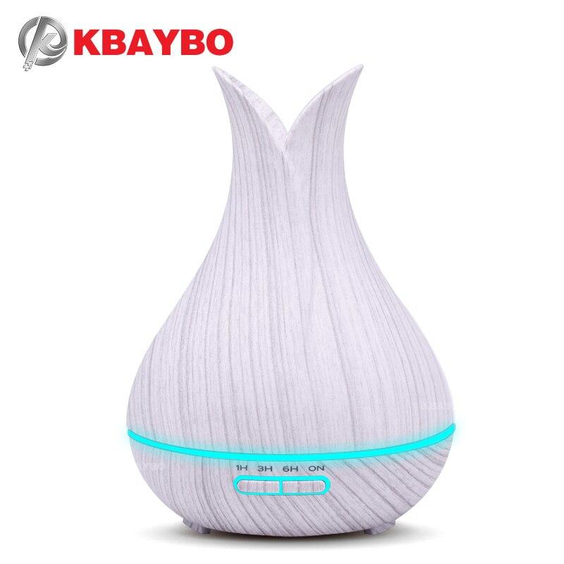 KBAYBO 400 ml Umidificador de Ar Ultra com Grão De Madeira branca elétrica Aroma Difusor Óleo Essencial Fresco Névoa maker para início