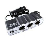 dc 12v 12V-24V לרכב 3 Way רכב מצית סיגריות Socket ספליטר מטען מתאם מתח DC + USB 3 בנמל Plug (3)
