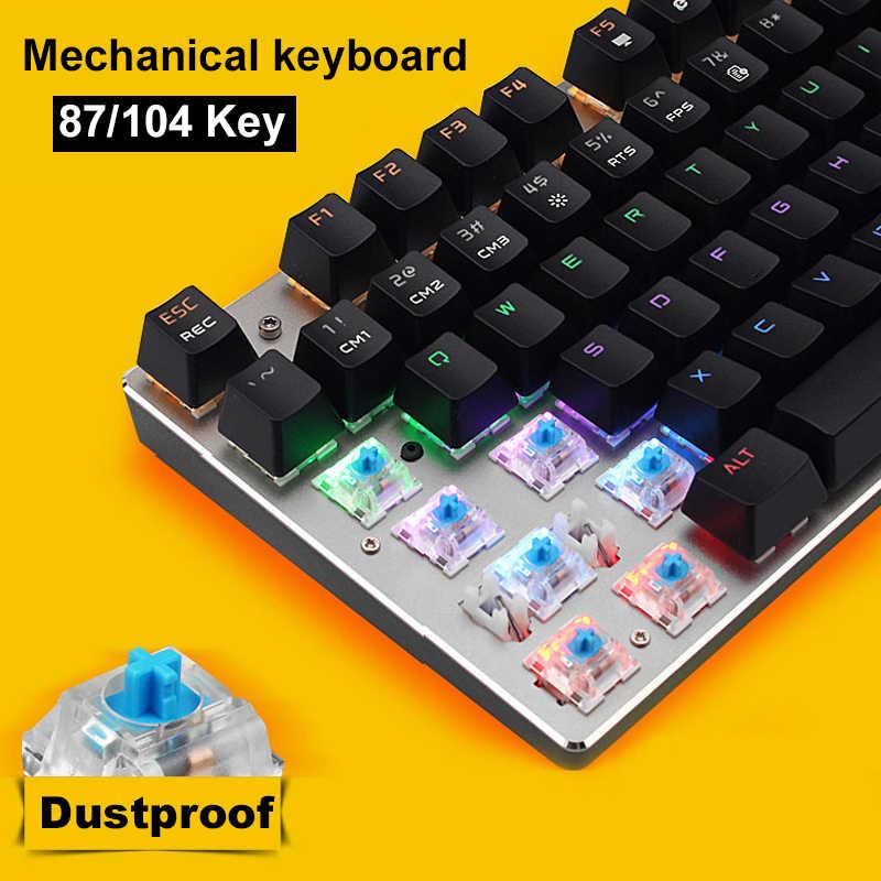 820bf0962f6 104 87 Key Russian English Metal Keyboard Blue Red Black Switch Gaming  Wired Mechanical Keyboard LED