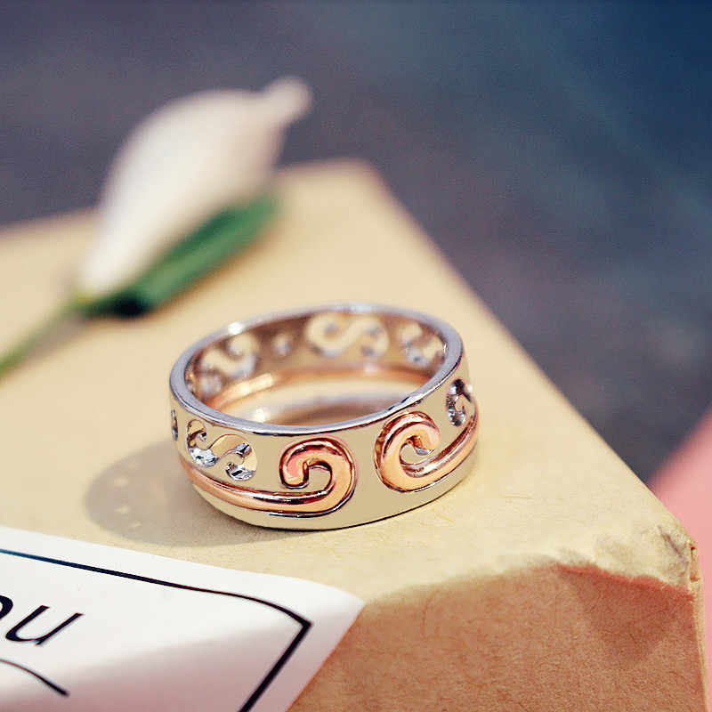 Liga de ouro rosa anel para feminino anel de ouro anéis de prata de casamento para a moda feminina jóias bague femme anillos mujer