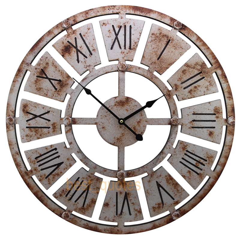 Shabby chic large 58cm thin rustic wall clock rusted iron roman numeral in wall clocks from home - Large roman numeral wall clocks ...