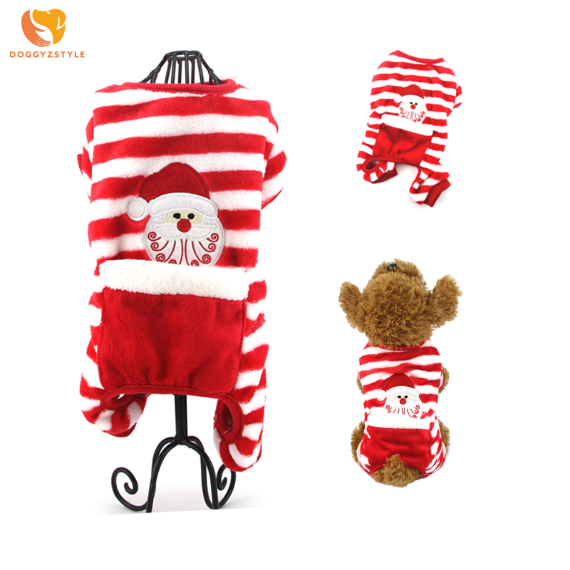 Christmas Winter Dog Jumpsuit Warm Santa Pattern Pet Pajamas Puppy Cat Clothes Pets Apparel For Small Dogs Teddy Chihuahua