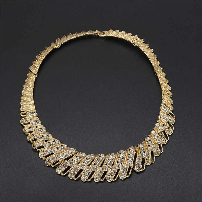 MUKUN 2017 Mode Dubai Gold-farbe Schmuck Set Hochzeit Nigerian Afrikanischen Perlen Ohrringe Halskette set dame party zubehör
