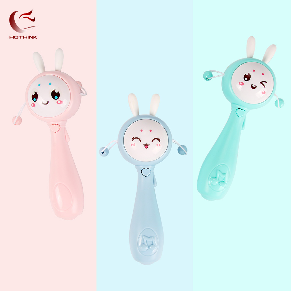 HOTHINK Baby Rattles Toy Grasping Rattle Drum Plastic Hand Bell Rabbit Looks Funny Soft Music Lullaby Toys Birthday Gifts