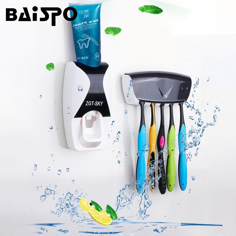 BAISPO แฟชั่น Automatic Toothpaste Dispenser ผู้ถือแปรงสีฟันห้องน้ำผลิตภัณฑ์ Wall Mount Rack ชุดยาสีฟัน Squeezers