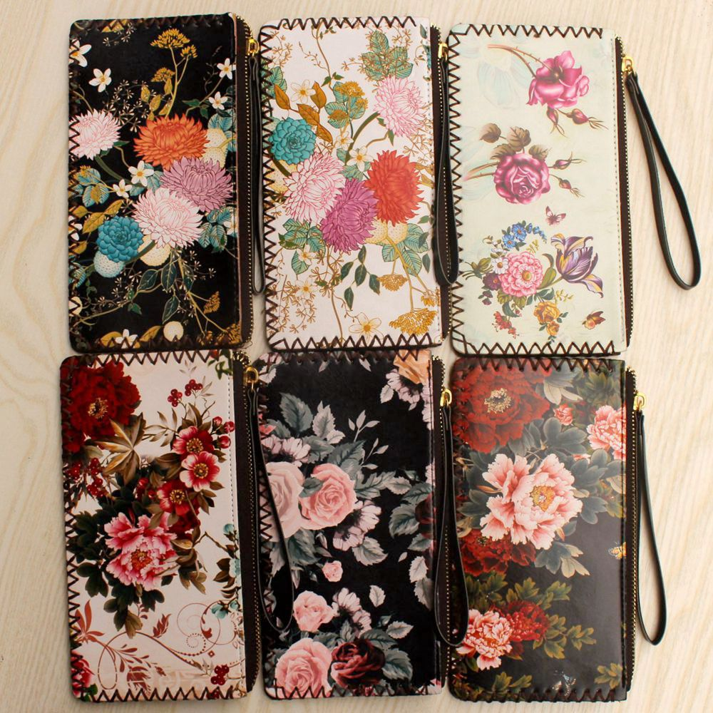 New ladies wrist purse Fashion womens wallets and purses female clutch purse PU leather card holder handmade Sweet flower wallet handmade men wallets cowhide engraved cross devil pestle ornaments womens wallets and purses long leather clutch purse