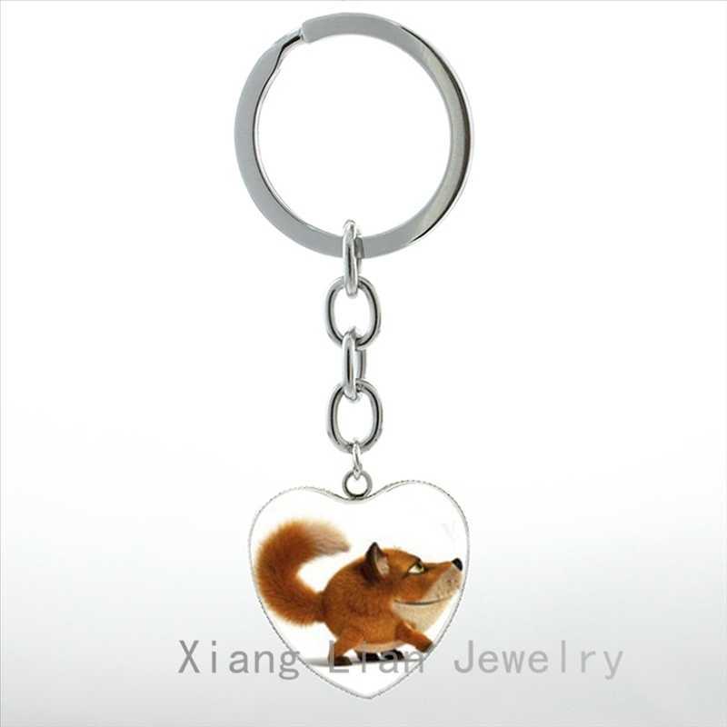 Super bonito dos desenhos animados anime nove caudas fox cadeia pingente de coração chave anel animais jóias pássaro Colibri Branco Swan keychain HP189