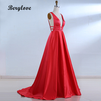 BeryLove Sexy Red Evening Dresses 2018 Elegant Satin Evening Gowns Long Formal Evening Dress Styles Women Prom Party Dresses