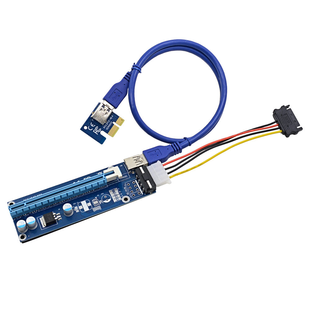 chipal 20pcs 1m pcie pci e pci express riser card 1x to 16x with usb