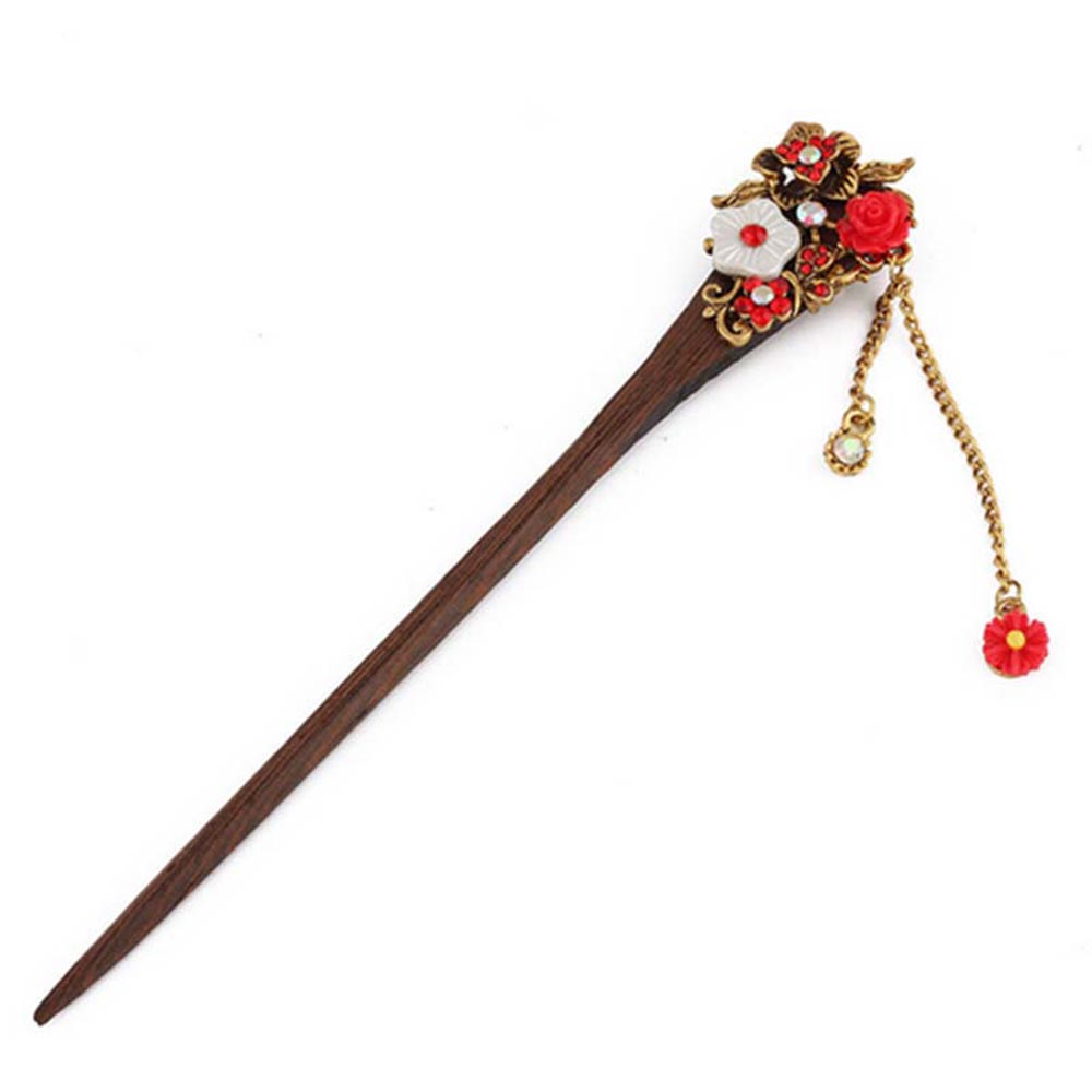 1 PCs Chic Women Vintage Wooden Hair Stick Fashion High Quality Handmade Shining Crystal Flower Wood Hairpin Hair Accessories