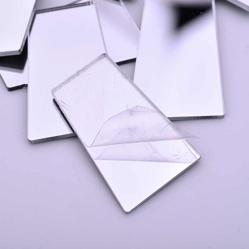 JUNAO, azulejos de espejo creativos transparentes, azulejo de mosaico de tamaño variado, piedras de arte y artesanías, 20 piezas de fabricación de mosaico DIY