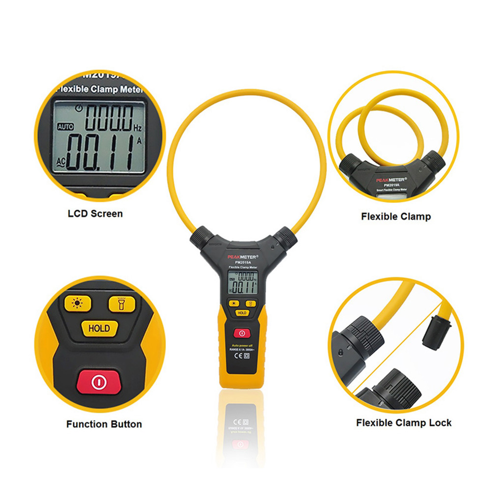 PEAKMETER PM2019A Digital Flexible Clamp Meter 3000A AC Current Handheld 6000 Counts Display Tester цена