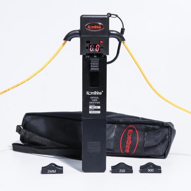 Identificador de fibra óptica de material metálico KomShine KFI 35 con cuatro adaptadores de 0,25, 0,9, 2,0 y 3,0