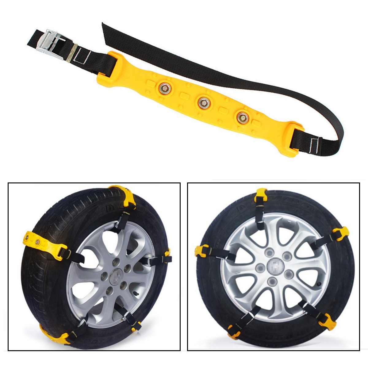 10pcs/set Car Yellow Tire Snow Chains Beef Tendon VAN Wheel Tyre Anti-skid TPU Chains 37 x 4.7cm