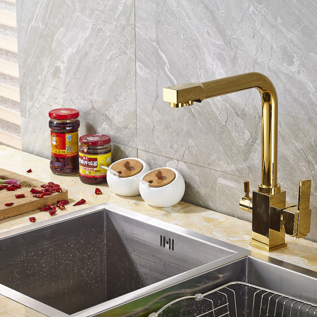 Wholesale Kitchen Faucets How To Refinish Sink And Retail Promotion Faucet Soild Brass Mixer Tap Dual Spouts Deck Mount