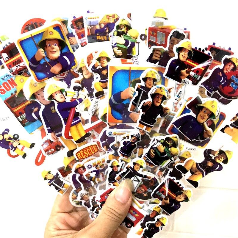 6 pièces 17cm 3 sortes dessin animé anime pompier Sam bulle autocollant pour enfants PVC éducation collection jouet d11 (lot de 6)