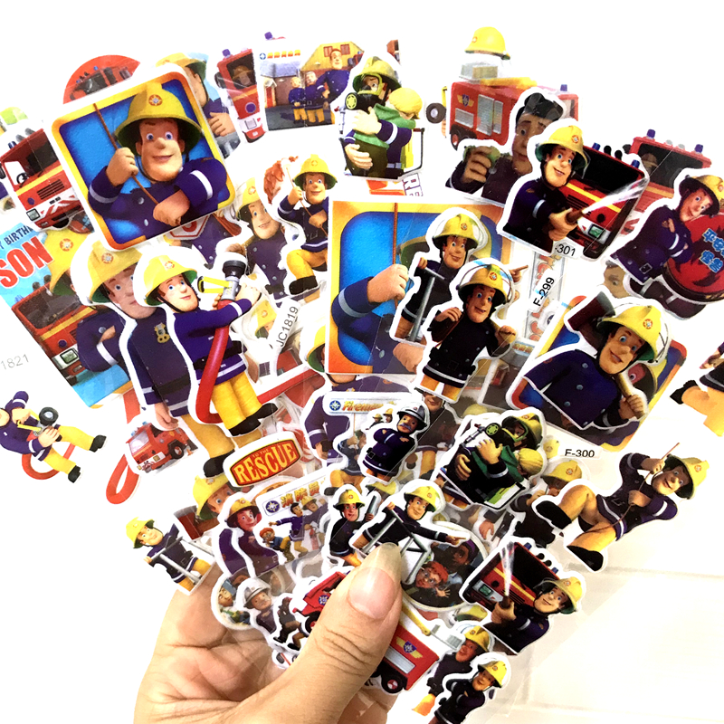 6pcs 17cm 3kinds Cartoon Anime Fireman Sam Bubble Sticker For Kids PVC Education Collection Toy D11