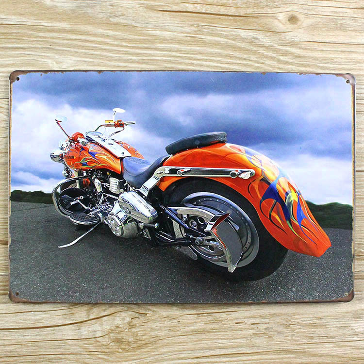 new 2015 very cool motorcycle tin signs vintage metal home decor decorative plaques for bar wall - Metal Signs Home Decor
