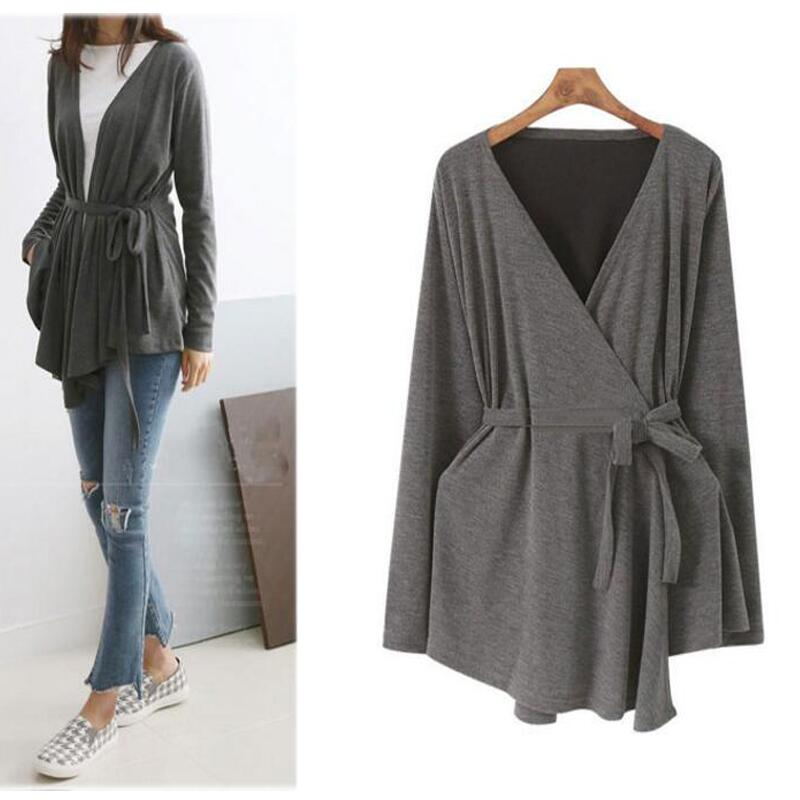 L-4XL Women Cardigan Tops Knitte Asymmetric Hem Wrap Lace-Up Belted Slim Casual Blouse Blusas Shirt Long Sleeve Kimono Plus Size 2