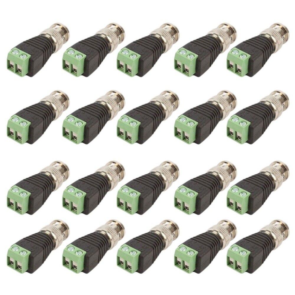 20Pcs lot Video Balun Connector Adapter BNC Plug For CCTV System Accessories Mini Coax CAT5 To Camera
