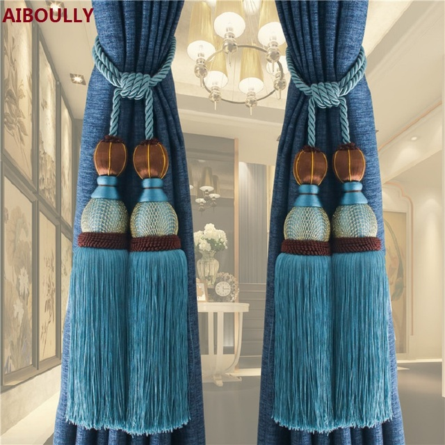 2Pcs/set Curtain Hook Hanging Ball Bandage Lashing Lobbing Decoration  Tassel Luxury Home Decor European Curtains Accessories