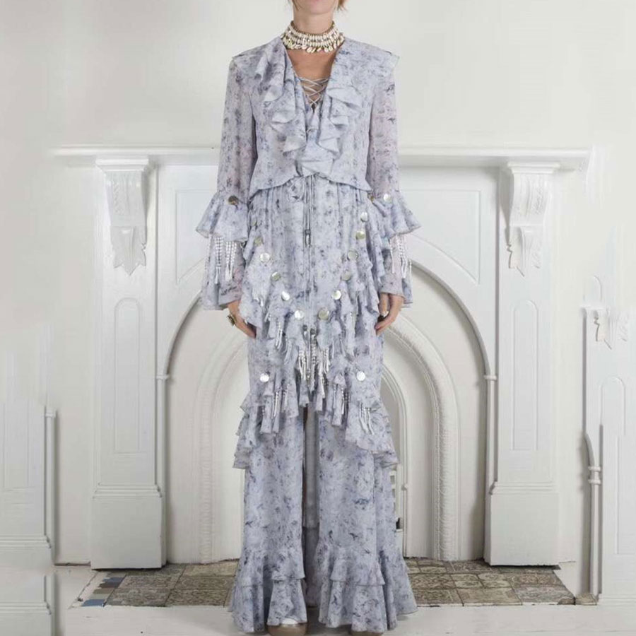 2019 nouvelles femmes robes ébouriffées Style fleur imprimé bleu clair violet robe femmes Sexy col en v taille haute Vocation robe Vestidos