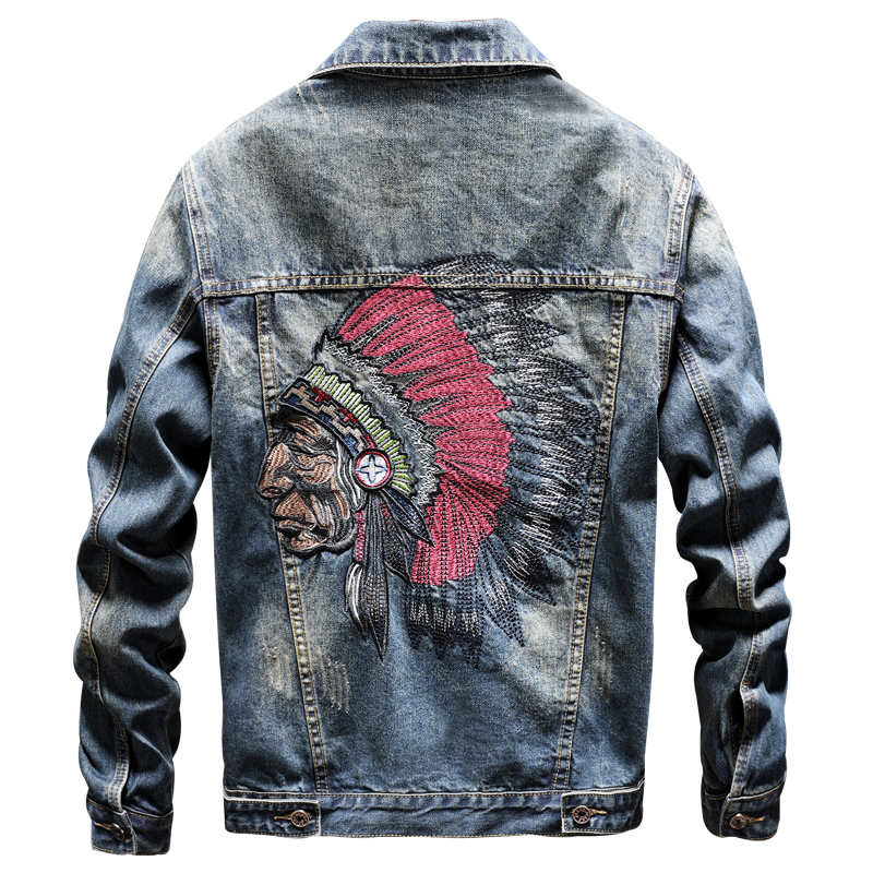 Indian Avatar Men 's Jeans Jackets Coats 3D Embroidery Mens Jeans Coats Indian Cartoon Pattern Streetwear Mens Coats XXXL Plus