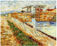 Langlois Bridge at Arles with Road alongside the Canal by Vincent Van Gogh Handpainted