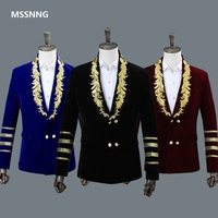 MSSNNG Men's Shawl Collar Royal Blue Suede Embroidery Loose Suit Jacket Stage Show Singer Double breasted Men Blazer Designs