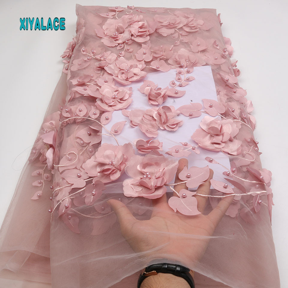 African Lace Fabric High Quality 3d Lace Embroidery French Tulle Lace Fabric Wedding For Nigerican Lace