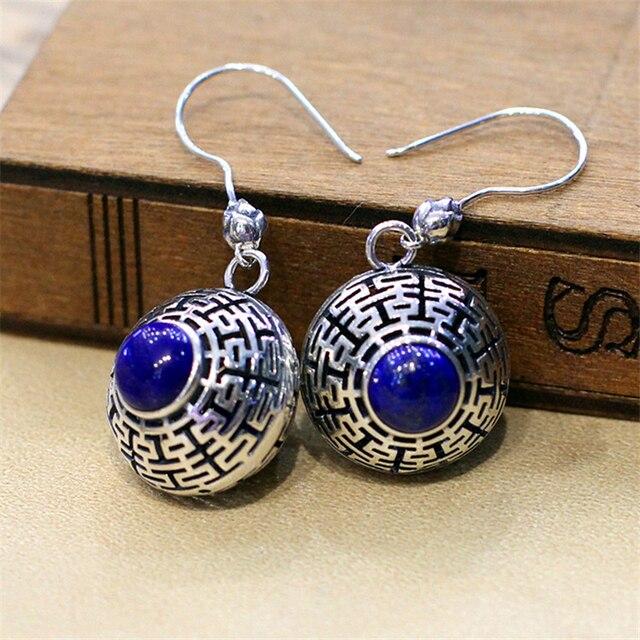 Antigo senhora elegante prata 925 stamp Natural semi precious stone lapis lazuli bohemian retro brincos de presente namorada