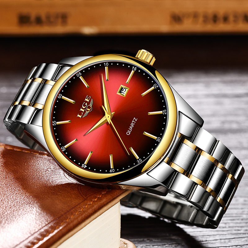 Image 2 - 2019 LIGE Simple Fashion Red Wristwatch Mens Watches Top Brand Luxury Waterproof Quartz Watch For Men Sport Clock Montre Homme-in Quartz Watches from Watches