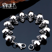 2016 New Cool Punk Difference Size Skull Bracelet For Man 316 Stainless Steel Man S High