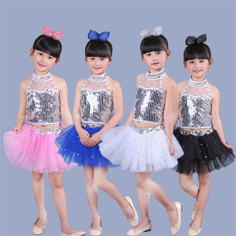 New girl's modern dance costumes kindergarten performance stage dance costumes children's sequins Jazz Costume JQ-062
