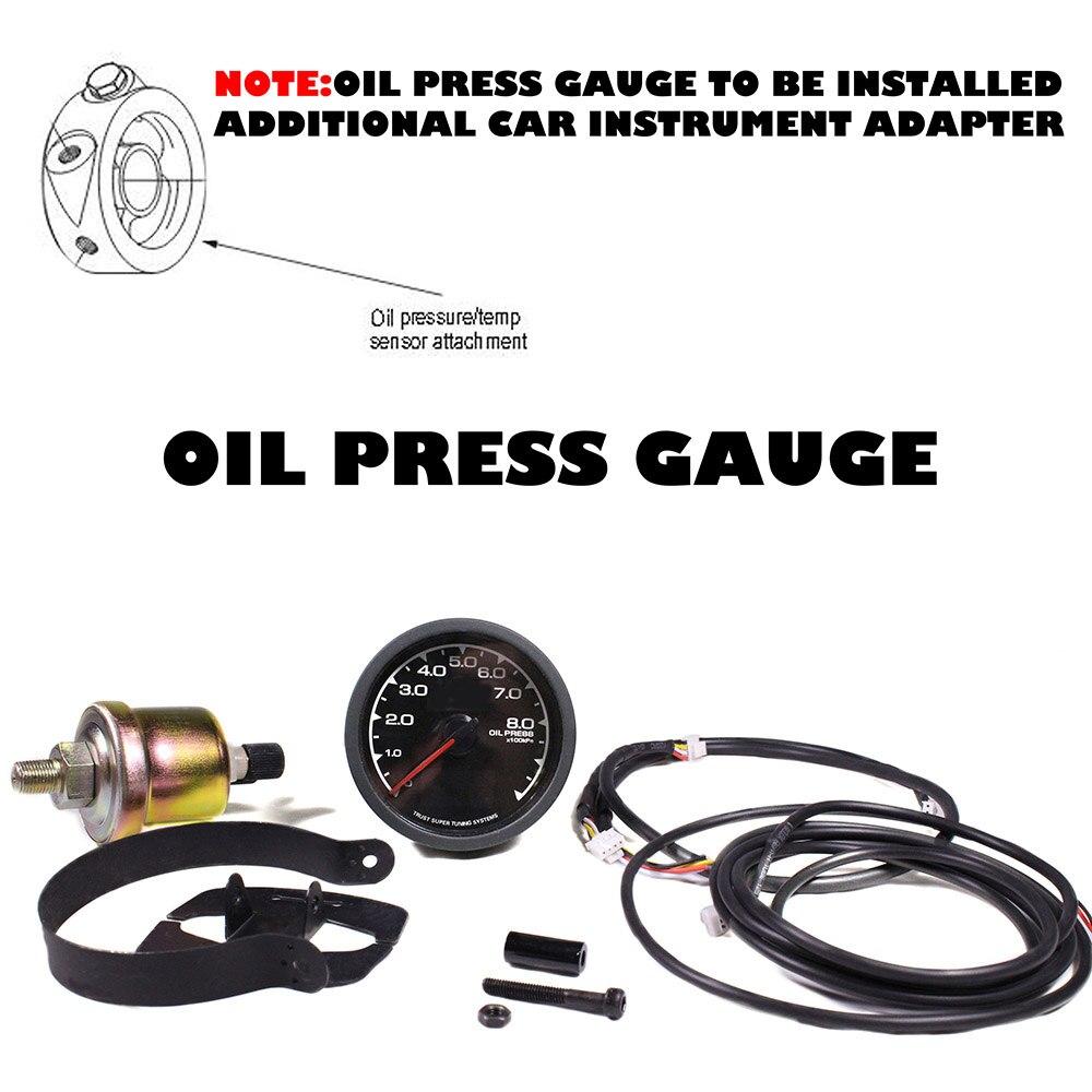 Universal Racing Gauge Oil Pressure Greddi 7 Light Colors Lcd Dragon Wiring Diagram Display Voltage Meter Sensor 62mm Gauges For Car In From