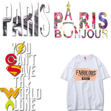 Fashion Tower Large Letter Patch Heat Transfer Ironing Stickers Vinyl DIY T-shirt Clothing Application Appliques Thermal Press E