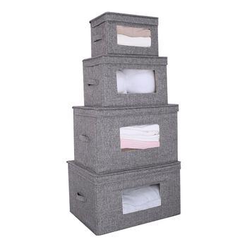 Waschbar Faltbare Lagerung Box Mit Deckel Griff Kleidung Schrank