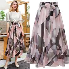 Fashion Women Summer Skirt  Plain Knee Length Ladies Soft Stretch Flared Printed Skater Midi