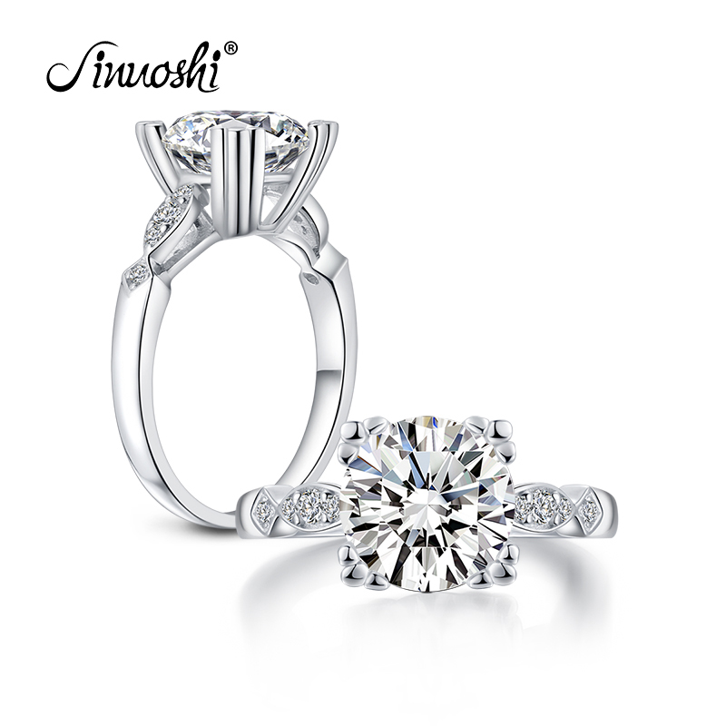 AINUOSHI 3.1 Carat Round Cut Ring Simulated Diamond Engagement Wedding Sterling Silver Ring Cat Claws Prongs Jewelry for Women