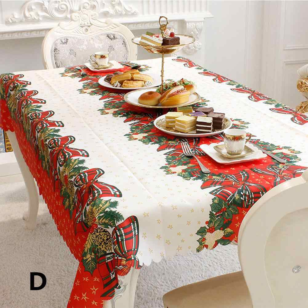 Christmas Table Cover Rectangle Printing Tablecloth for Restaurant Household Decoration Mantel Mesa Tablecloth