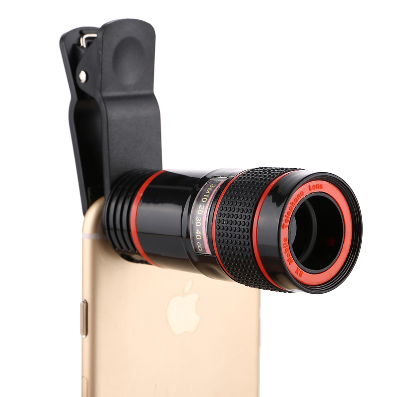 Galleria fotografica PERAK 8x Zoom Telephoto Lens for iPhone 6 6s plus 5s SE Samsung Huawei XIAOMI LG smartphones camera lens Universal Clip Holder