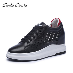 Image 2 - Smile Circle Wedges Sneakers Women Genuine Leather Casual Shoes Women Fashion Lace up High heel Platform Shoes