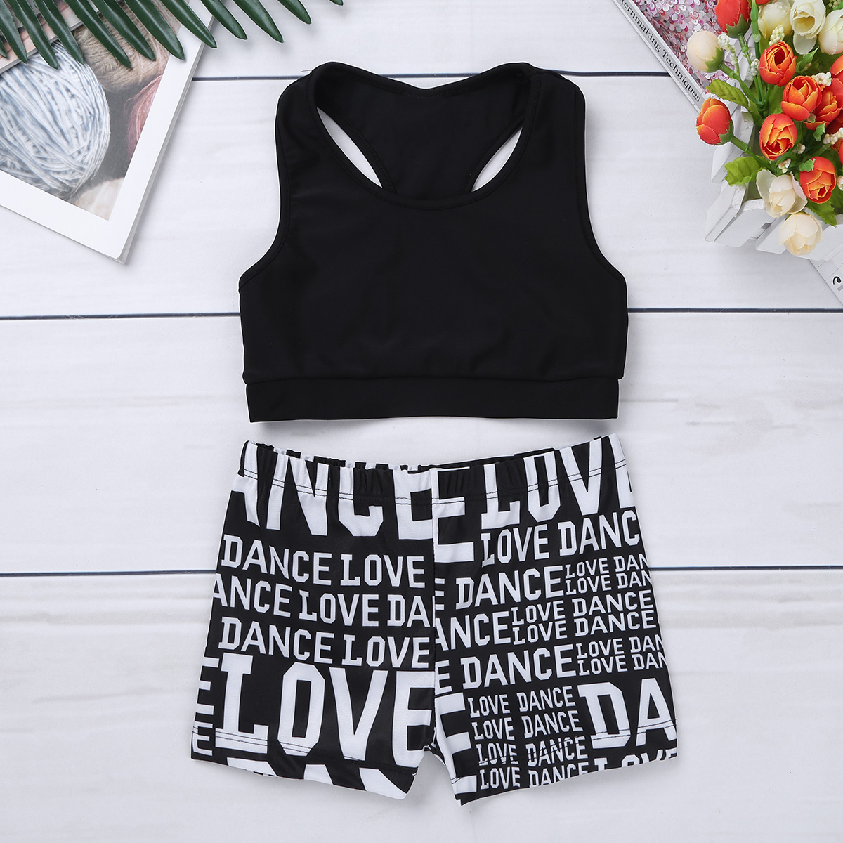 2Pcs Children Sport Top with Letter Bottoms Set Training Suit Kids Athletic Vest Shorts Sports Wear for Girls Gym Sportswear