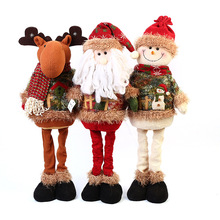 Christmas Plush Toys Cute Funny Retractable Standing Santa Claus Snowman Doll Window Decorations Stuffed Animal