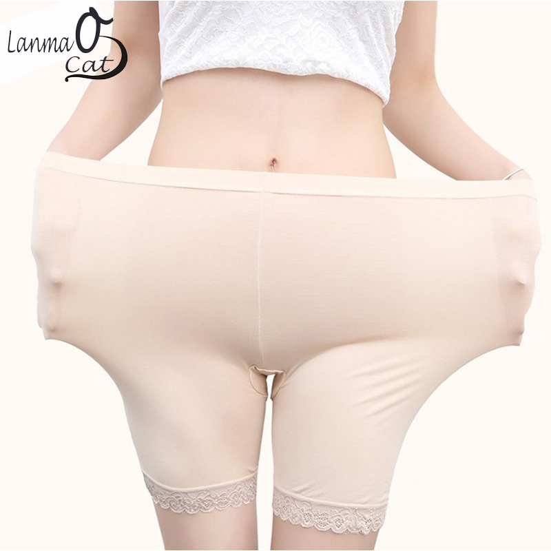 2 PCS Safety Boxer Panties Pants With Lace For Women Summer Underwear Thin Inner Boxer Shorts Plus Underwear Size Free Shipping