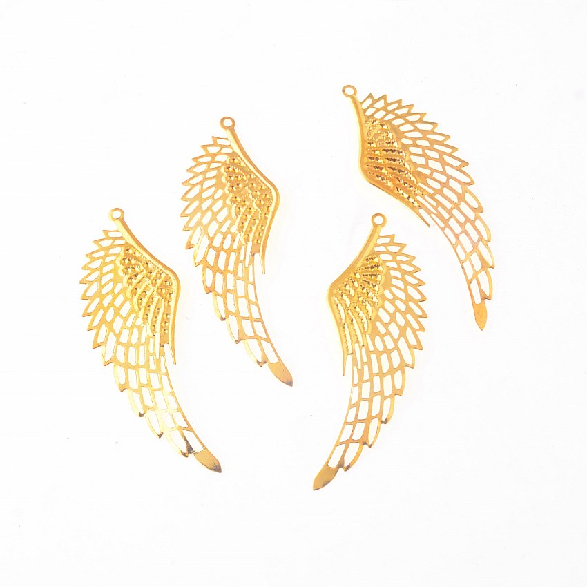 Free Shipping Retail 10Pcs Gold Tone Filigree Wing Wraps Connectors Metal Crafts Decoration DIY Findings Connectors 2.4x7cm