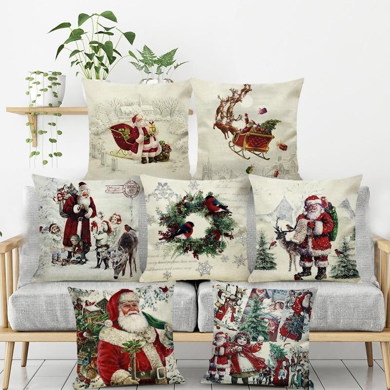1pcs 2020 Pillow Case Santa Claus Print Old Man Sofa Bed Home Decor Pillowcase Bedroom Cushion Cover Merry Christmas 44x44 Cm(China)